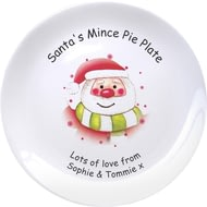 "Personalised Santa & Stars Mince Pie 8"" Coupe Ceramic Plate"