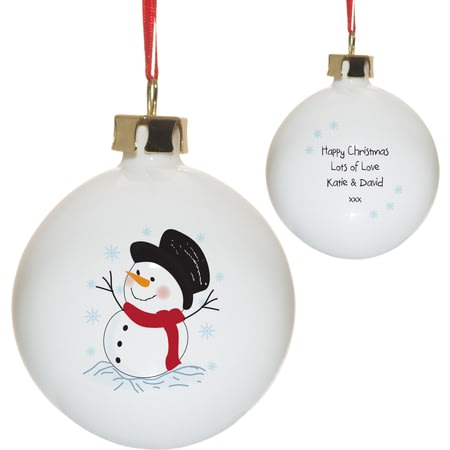 Personalised Traditional Snowman Bone China Christmas Tree Bauble