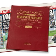 Personalised Portsmouth Football Newspaper Book - Leather Cover
