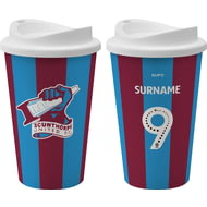 Personalised Scunthorpe United FC Back Of Shirt 350ml Reusable Tea / Coffee Cup