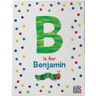 Personalised Very Hungry Caterpillar Dot Initial Canvas