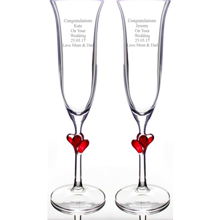 Personalised Red Heart Stem Pair of Champagne Flutes