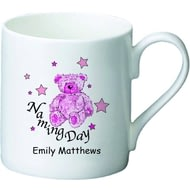 Personalised Teddy & Stars Pink Naming Day Ceramic Mug