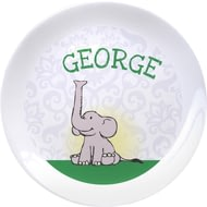 "Personalised Baby Boy Elephant 8"" Bone China Coupe Plate"