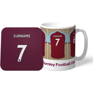 Personalised Burnley FC Dressing Room Shirts Mug & Coaster Set