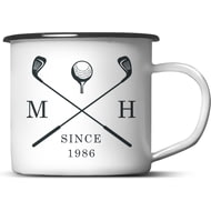 Personalised Golf Clubs Tin Enamel Mug