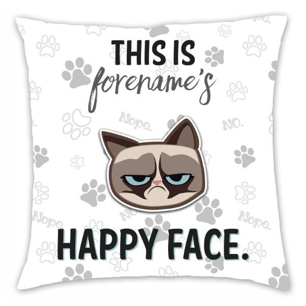 Personalised Grumpy Cat Emoji - Happy Face Cushion Grey - 45x45cm