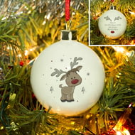 Personalised Little Reindeer Ceramic Christmas Tree Bauble