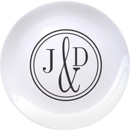 "Personalised Monogram Circle 8"" Bone China Coupe Ceramic Plate"