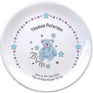 "Personalised Teddy & Stars Blue Birth 8"" Bone China Coupe Plate"