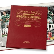 Personalised Celtic Europe Football Newspaper Book - Leather Cover