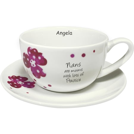 Personalised Pink Pansies Nan Sentiments Cup & Saucer