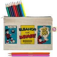 Personalised Beano Classic Comic Strip Top Dog Canvas Pencil Case & Pencils