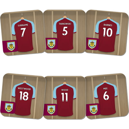 Personalised Burnley FC Dressing Room Shirts Coasters Set of 6