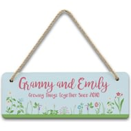 Personalised Growing Things Since Hanging Sign