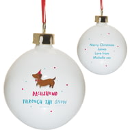 Personalised HotchPotch Dachshund Through The Snow Ceramic Bauble