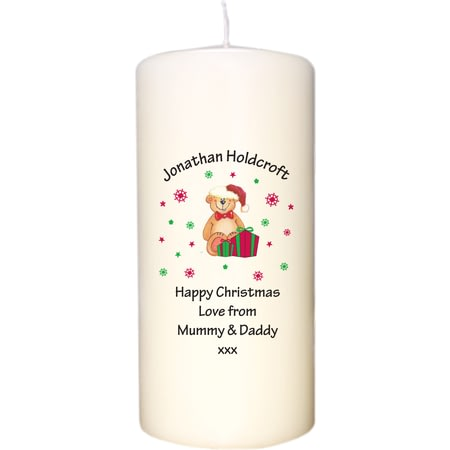 Personalised Christmas Teddy & Hat Candle