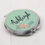 Personalised Green Flower Round Compact Mirror