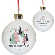 Personalised Pastel Merry Christmas Ceramic Tree Bauble