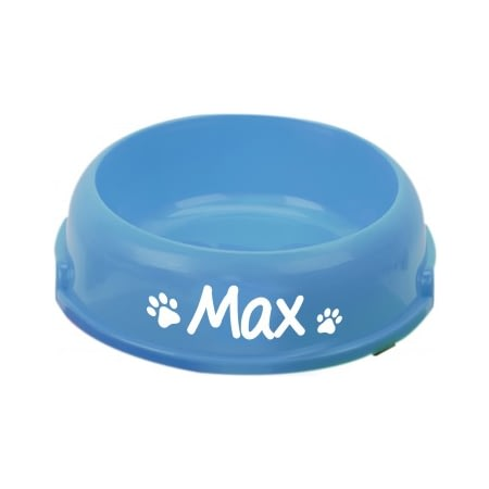 Personalised Round Dog Food/Water Bowl - Blue