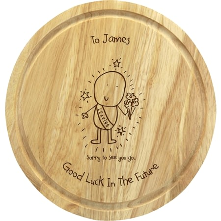 Personalised Chilli & Bubble's Leaving Round Chopping Board