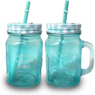 Personalised Blue Coloured Mason Jar With Straw