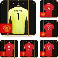 Personalised Manchester United FC Goalkeeper Dressing Room Shirts Coasters Set of 6