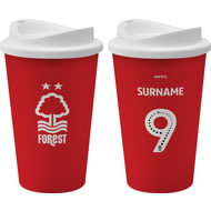 Personalised Nottingham Forest FC Back Of Shirt 350ml Reusable Tea / Coffee Cup