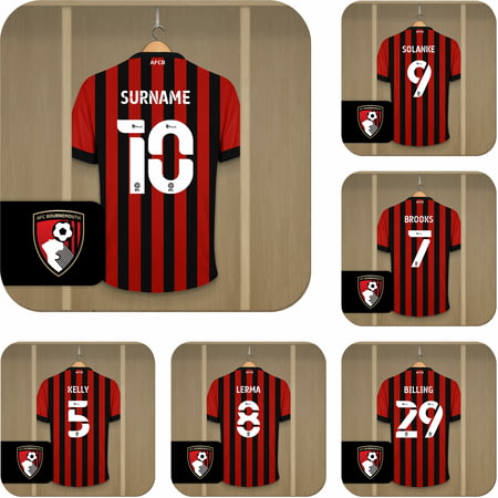Personalised AFC Bournemouth Dressing Room Shirts Coasters Set of 6