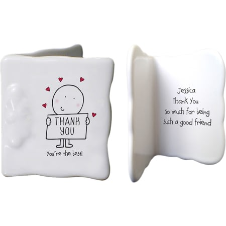 Personalised Chilli & Bubbles Thank You Ceramic Message Card