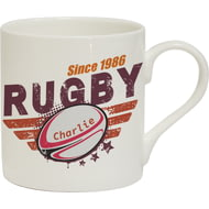 Personalised Maroon Rugby Chunky Bone China Mug