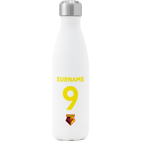 Personalised Watford FC Back Of Shirt Insulated Water Bottle - White