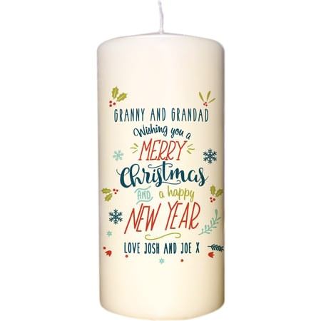 Personalised Wishing You A Merry Christmas Candle