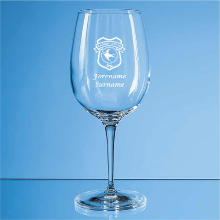 Personalised Cardiff City FC Crest 480ml Wine Glass