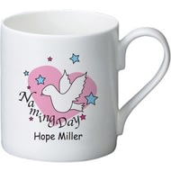 Personalised Dove & Hearts Pink Naming Day Ceramic Mug