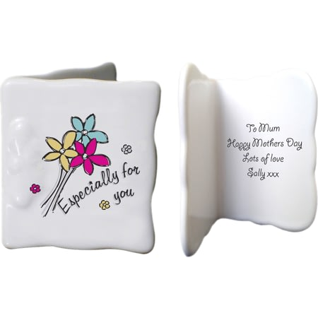 Personalised Especially For You Flowers Ceramic Message Card