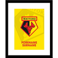 Personalised Watford FC Bold Crest Framed Print