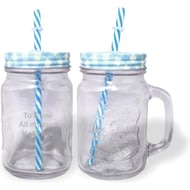 Personalised Blue Mason Jar With Straw