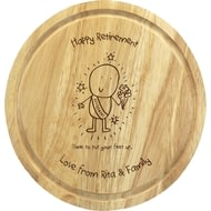 Personalised Chilli & Bubbles Retirement Round Chopping Board