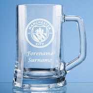 Personalised Manchester City FC Personalised Crest Stern Glass Pint Tankard