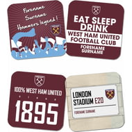 Personalised West Ham United FC Coasters