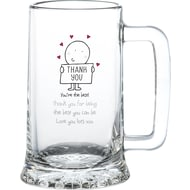 Personalised Chilli & Bubble's Thank You Glass Stern Tankard
