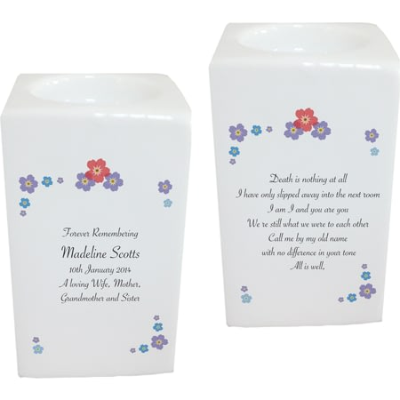 Personalised Forget Me Not Tea Light Holder