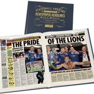Personalised Millwall FC Football Newspaper Book - A3 Leather Cover