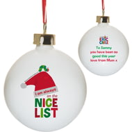 Personalised Very Hungry Caterpillar Nice List Ceramic Christmas Tree Bauble