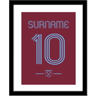 Personalised West Ham United Retro Shirt Framed Print