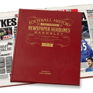 Personalised Barnsley Football Newspaper Book - Leather Cover