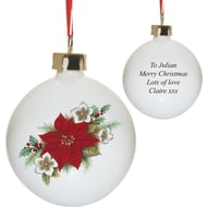 Personalised Poinsettia Flower Ceramic Christmas Tree Bauble
