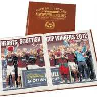Personalised Hearts Football Newspaper Book - Leatherette Cover