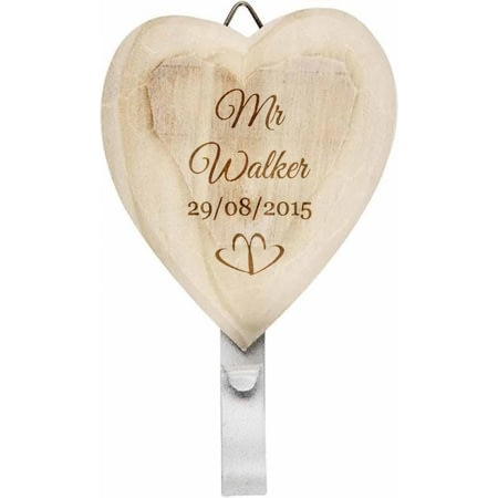 Personalised His & Hers Wooden Heart Coat Hooks